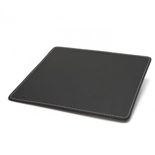 Ørskov Musemåtte - sort læder, hvide stikninger