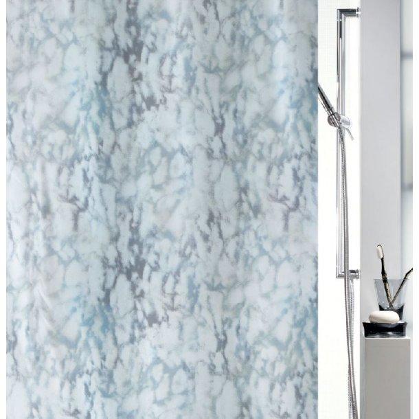 Spirella Marble Badeforhæng 180 x 200 cm - grå/blå