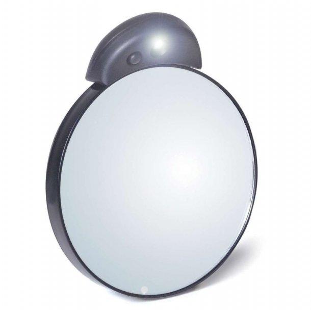 Tweezerman MakeUp spejl 8,5 cm - 10x forstørrelse med lys