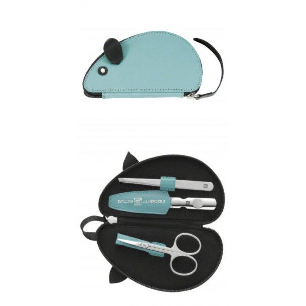 Zwilling Baby- og børnemanicure sæt, mus, turkis - 3 dele