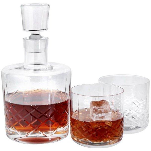 Erik Bagger XO karaffel samt 2 stk. lowball glas i krystal 37cl