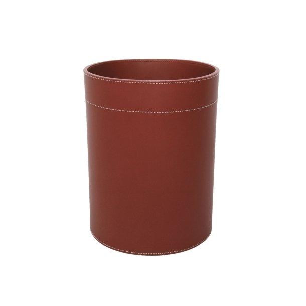 Ørskov Papirkurv i læder - cognacfarvet med hvide stikninger